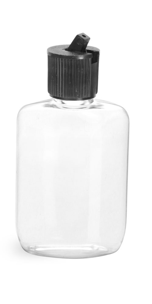1.25 oz w/ Spout Cap Clear PVC  Ovals w/ Black Spout Cap