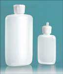 LDPE Plastic Bottles, Natural Straight Sided Oval Bottles w/ White Flip Top Spout Caps