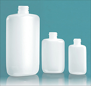 Plastic Bottles, Natural LDPE Straight Sided Ovals (Bulk), Caps NOT Included