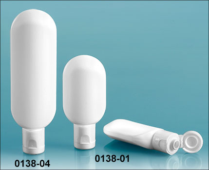 Plastic Bottles, White Plastic Tube Bottles with Snap Top Dispensing Caps