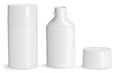 Plastic Bottles, White HDPE Square Bottom Tottles w/ White Caps