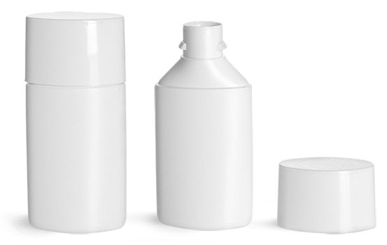 HDPE Plastic Bottles, White Square Bottom Tottles w/ White Caps