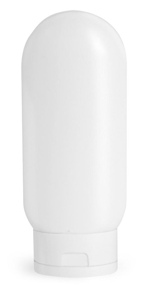2 oz White HDPE Tottles w/ White Caps