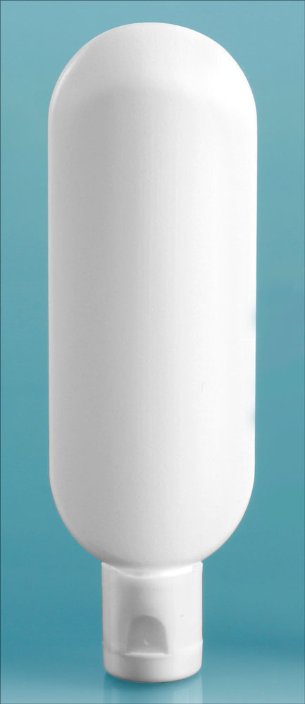 1 oz White Plastic Tube Bottles w/ Snap Top Dispensing Caps