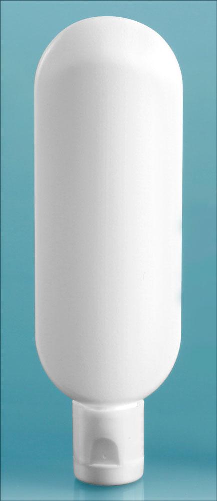 White Plastic Tube Bottles w/ Snap Top Dispensing Caps