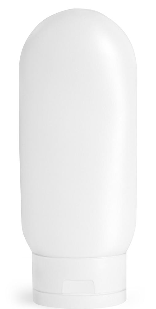 4 oz White HDPE Tottles w/ White Caps