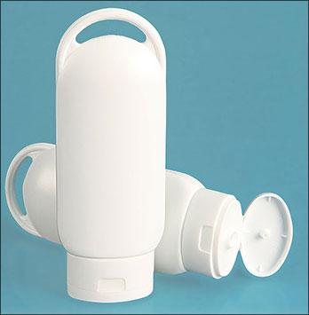 Plastic Bottles, 2 oz White HDPE Lotion Ovals w/ White Snap Top Caps