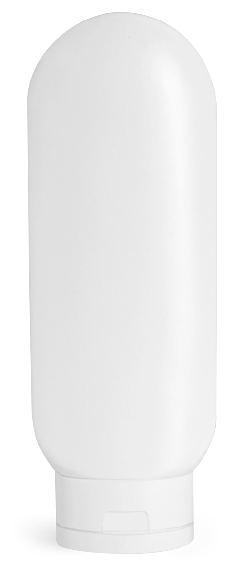 6 oz White HDPE Tottles w/ White Caps