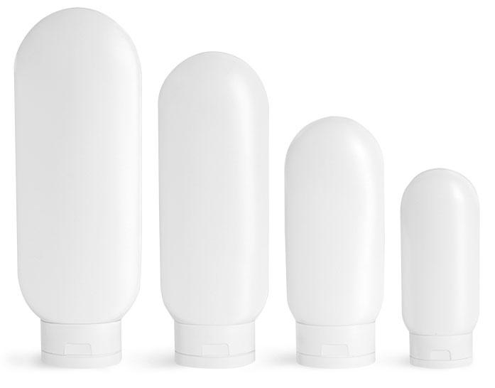 HDPE Plastic Bottles, White Tottles w/ White Caps