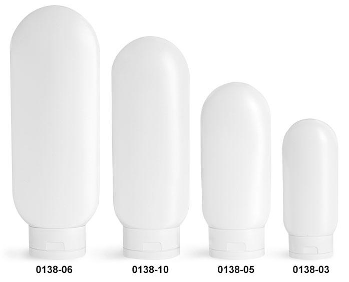 Plastic Bottles, White HDPE Tottles w/ White Caps