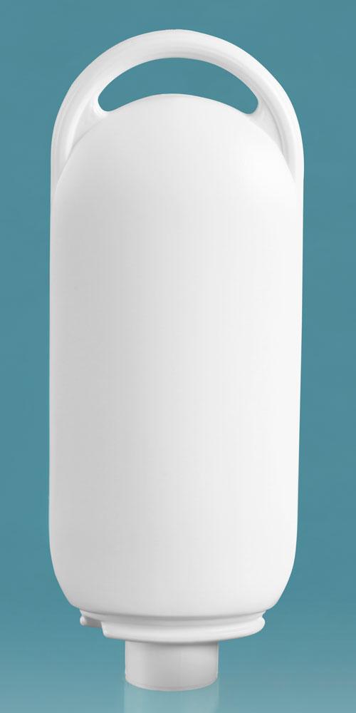 2 oz Plastic Bottles, White HDPE Lotion Ovals (Bulk), Caps NOT Included