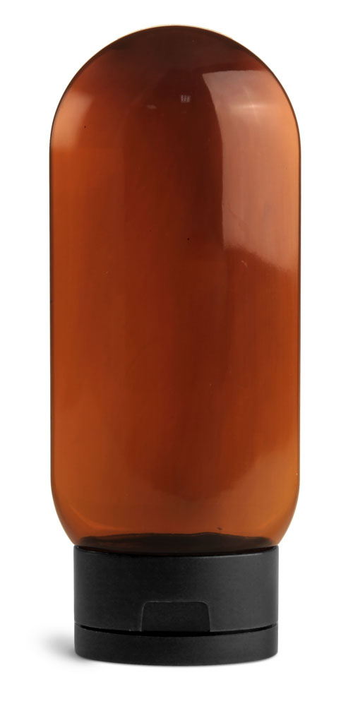 4 oz Plastic Bottles, Amber PET Tottles w/ Black Snap Top Caps
