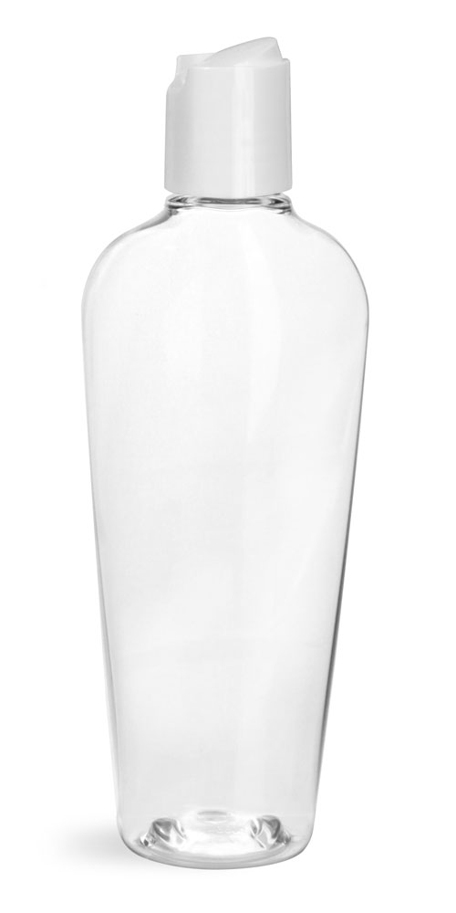 Clear PET Naples Oval Bottles w/ White Disc Top Caps