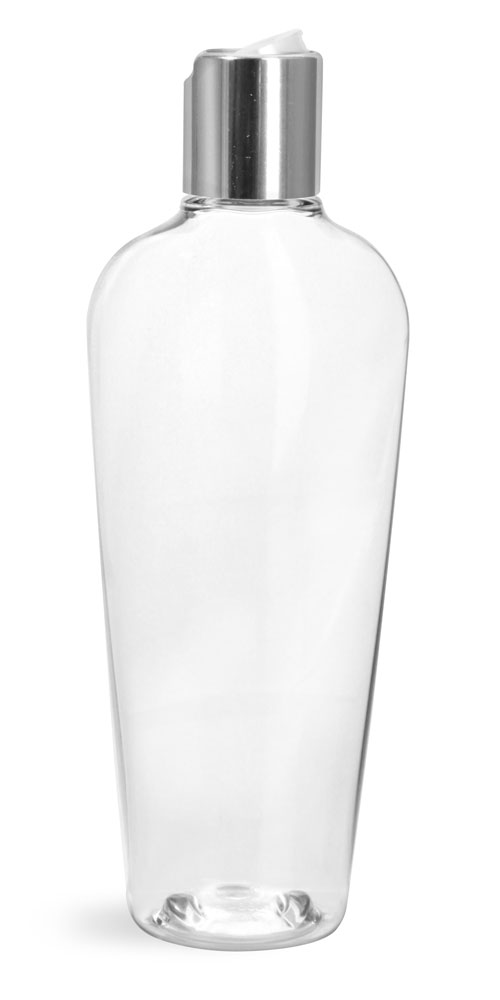 8 oz Clear PET Naples Oval Bottles w/ Silver Disc Top Caps