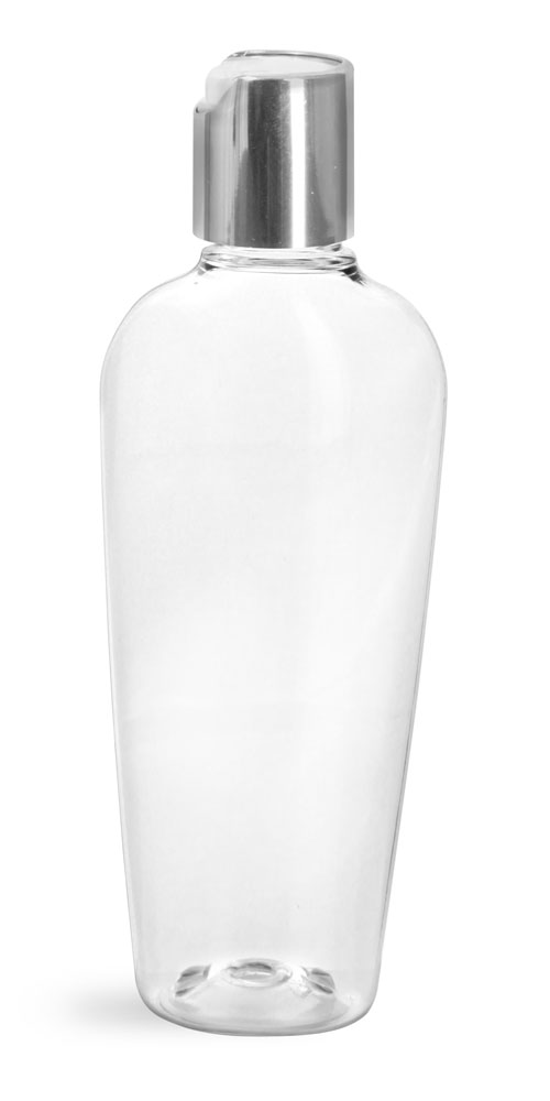 Clear PET Naples Oval Bottles w/ Silver Disc Top Caps