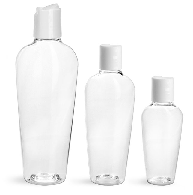 PET Plastic Bottles, Clear Naples Oval Bottles w/ White Disc Top Caps