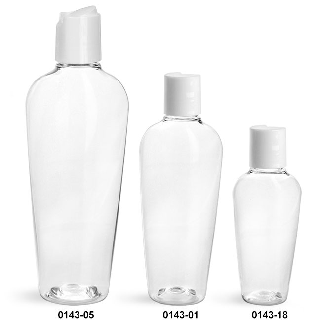 Plastic Bottles, Clear PET Naples Oval With White Disc Top Caps