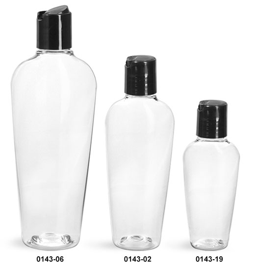 Plastic Bottles, Clear PET Naples Oval With Black Disc Top Caps