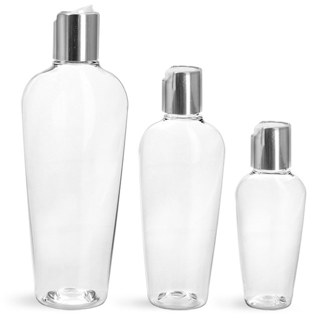 PET Plastic Bottles, Clear Naples Oval Bottles w/ Silver Disc Top Caps