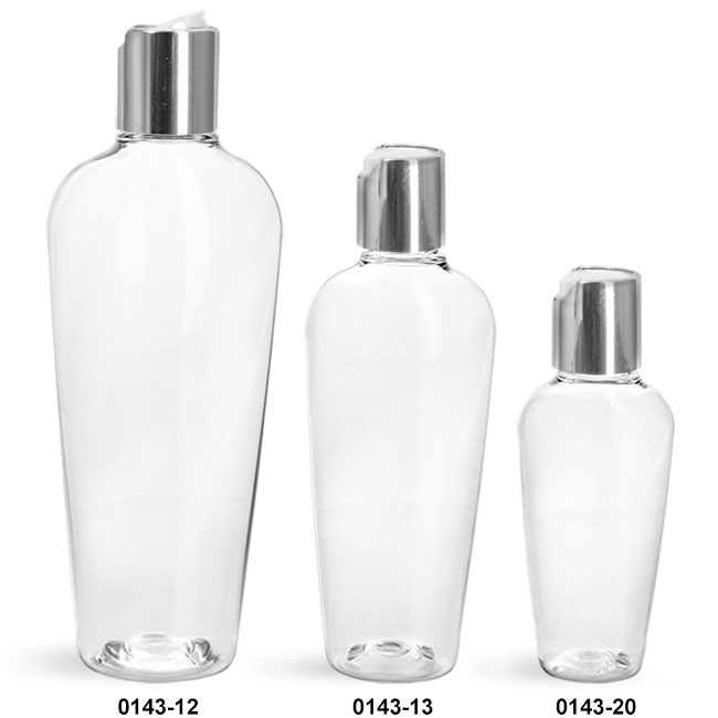 Plastic Bottles, Clear PET Naples Ovals With Silver Disc Top Caps