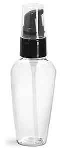 Plastic Bottles, Clear PET Naples Ovals w/ Black Treatment Pumps