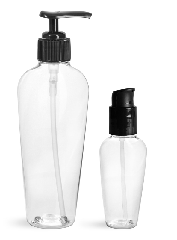 PET Plastic Bottles, Clear Naples Oval Bottles w/ Black Lotion Pumps