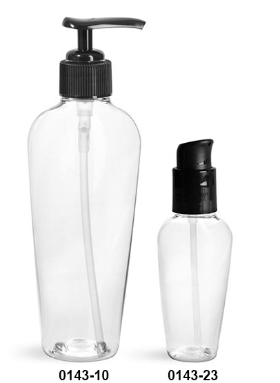 Plastic Bottles, Clear PET Naples Ovals with Black Lotion Pumps