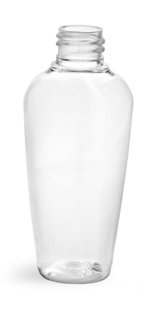 2 oz Clear PET Naples Oval Bottles (Bulk), Caps NOT Included