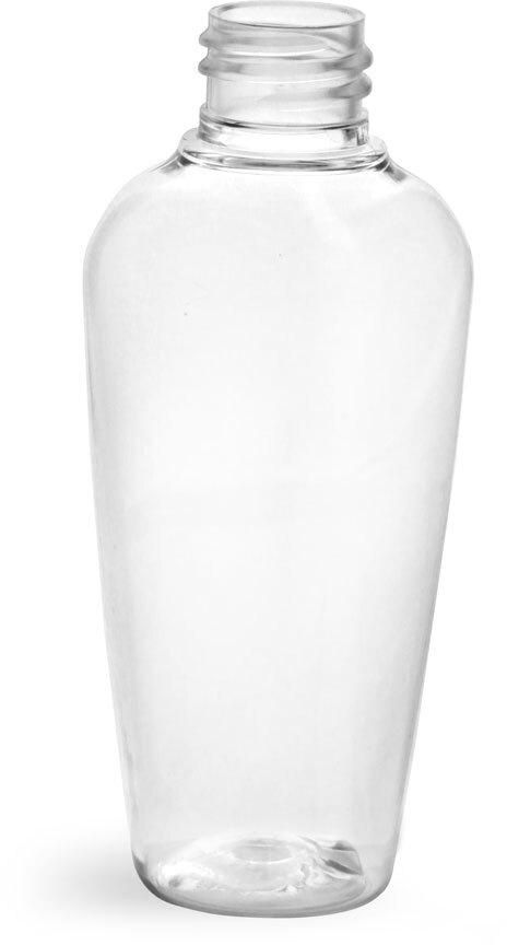 Clear PET Naples Oval Bottles (Bulk), Caps NOT Included