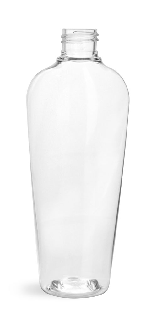 8 oz Clear PET Naples Oval Bottles (Bulk), Caps NOT Included