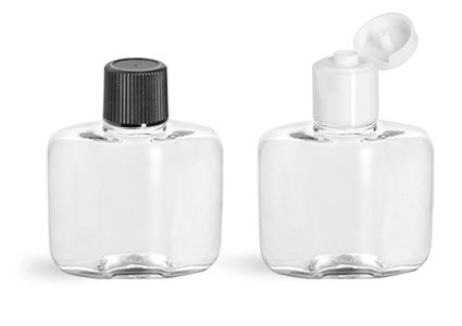 1 oz Clear PET Squat Amenity Bottles w/ Caps