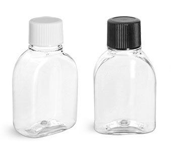 PET Plastic Bottles, Clear Amenity Bottles w/ Caps