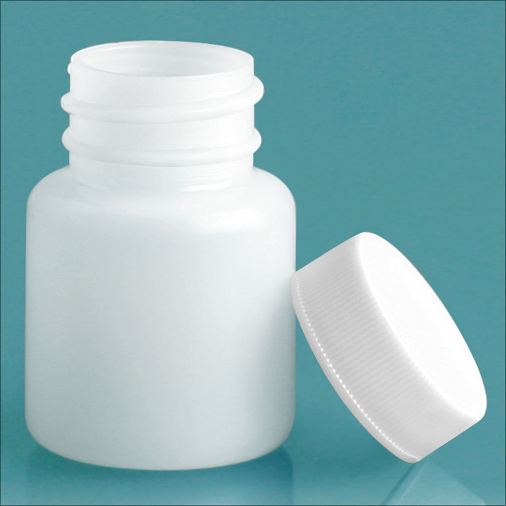 30 cc Plastic Bottles, Natural HDPE Wide Mouth Pharmaceutical Round Bottles w/ White Lined Screw Caps
