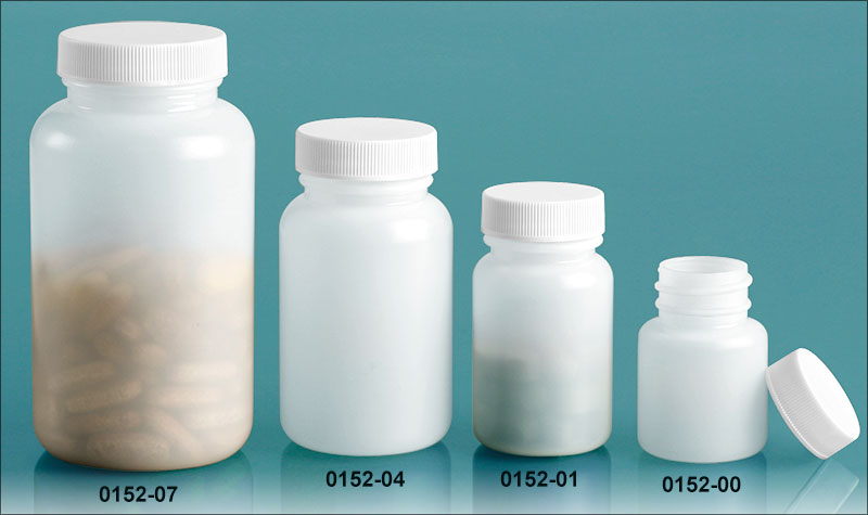 Plastic Bottles, Natural HDPE Wide Mouth Pharmaceutical Round Bottles w/ White Lined Screw Caps