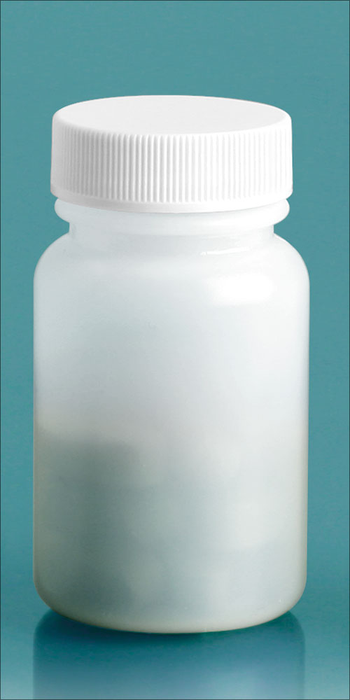 60 cc Plastic Bottles, Natural HDPE Wide Mouth Pharmaceutical Round Bottles w/ White Lined Screw Caps