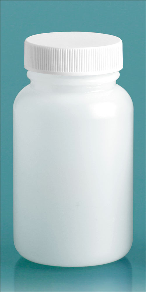120 cc Plastic Bottles, Natural HDPE Wide Mouth Pharmaceutical Round Bottles w/ White Lined Screw Caps