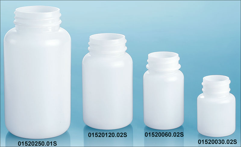 Natural HDPE Pharmaceutical Rounds (Bulk), Caps NOT Included