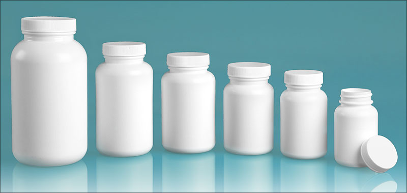 HDPE Plastic Bottles, White Pharmaceutical Round Bottles w/ White Lined Caps