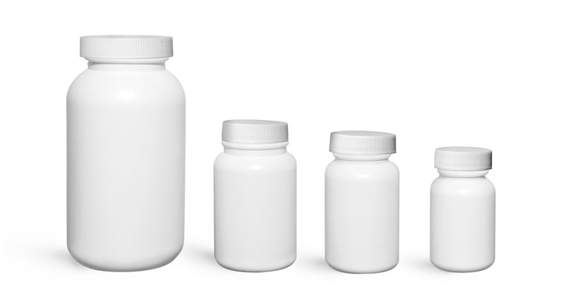 Plastic Bottles, White HDPE Wide Mouth Pharmaceutical Rounds w/ White Ribbed Caps