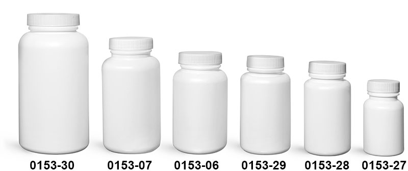 Plastic Bottles, White HDPE Wide Mouth Pharmaceutical Rounds w/ White Lined Caps