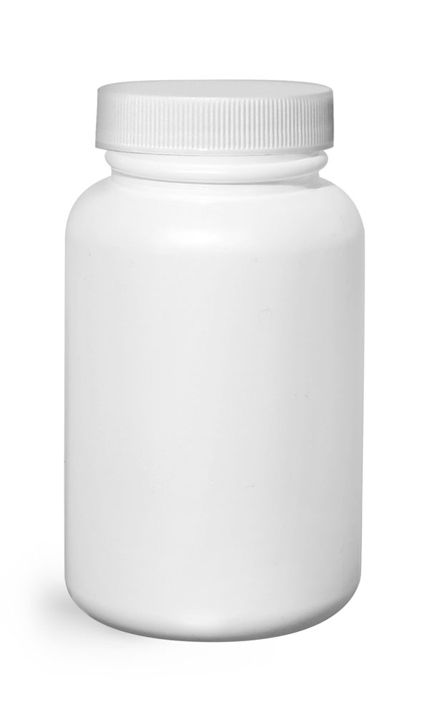 200 cc Plastic Bottles, White HDPE Wide Mouth Pharmaceutical Rounds w/ White Lined Caps