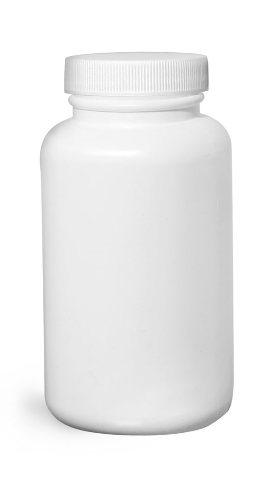 250 cc Plastic Bottles, White HDPE Wide Mouth Pharmaceutical Rounds w/ White Lined Caps