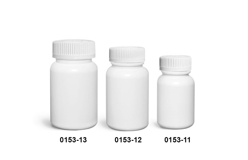 Plastic Bottles, White HDPE Wide Mouth Pharmaceutical Round Bottles w/ White Child Resistant Caps