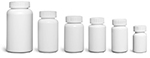 HDPE Plastic Bottles, White Pharmaceutical Round Bottles w/ White Child Resistant Caps