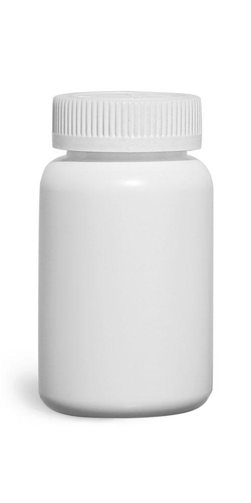 200 cc Plastic Bottles, White HDPE Wide Mouth Pharmaceutical Round Bottles w/ White Child Resistant Caps