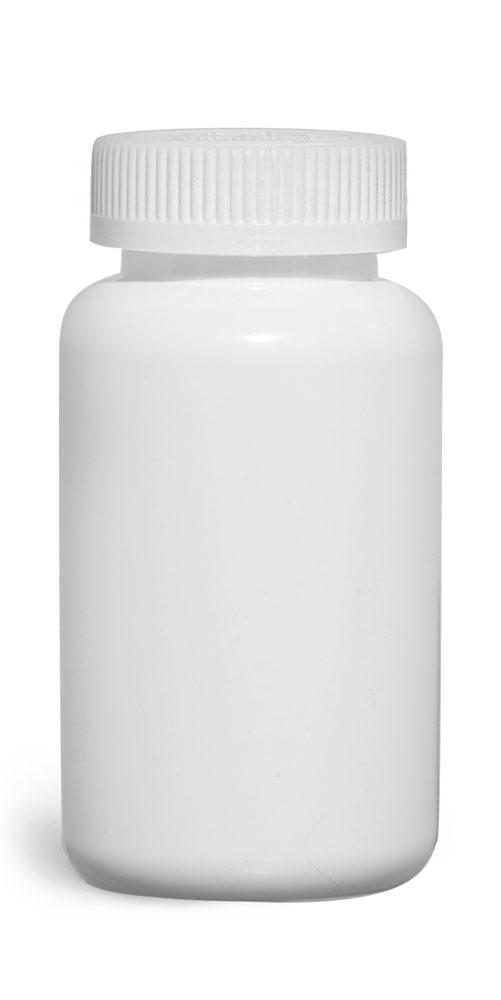 250 cc Plastic Bottles, White HDPE Wide Mouth Pharmaceutical Round Bottles w/ White Child Resistant Caps