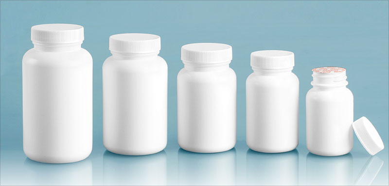 HDPE Plastic Bottles, White Pharmaceutical Round Bottles w/ White Ribbed Induction Lined Caps