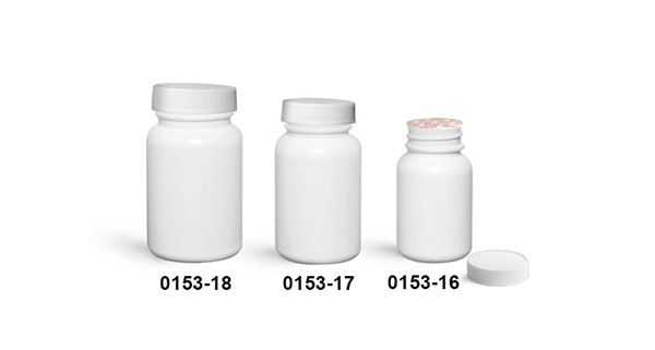 Plastic Bottles, White HDPE Wide Mouth Pharmaceutical Round Bottles w/ White Ribbed Induction Lined Caps