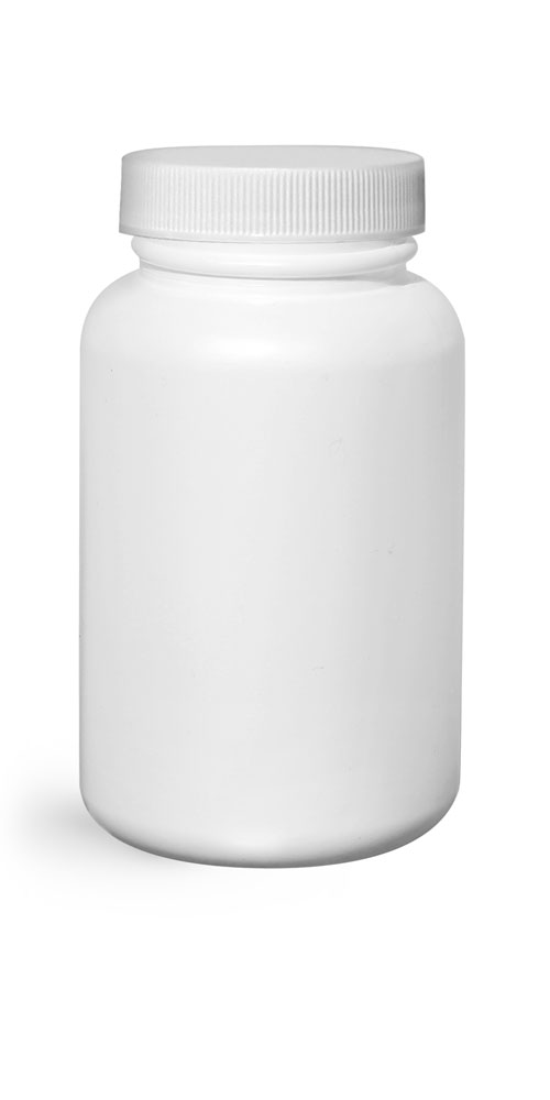 200 cc White HDPE Pharmaceutical Round Bottles w/ White Ribbed Induction Lined Caps