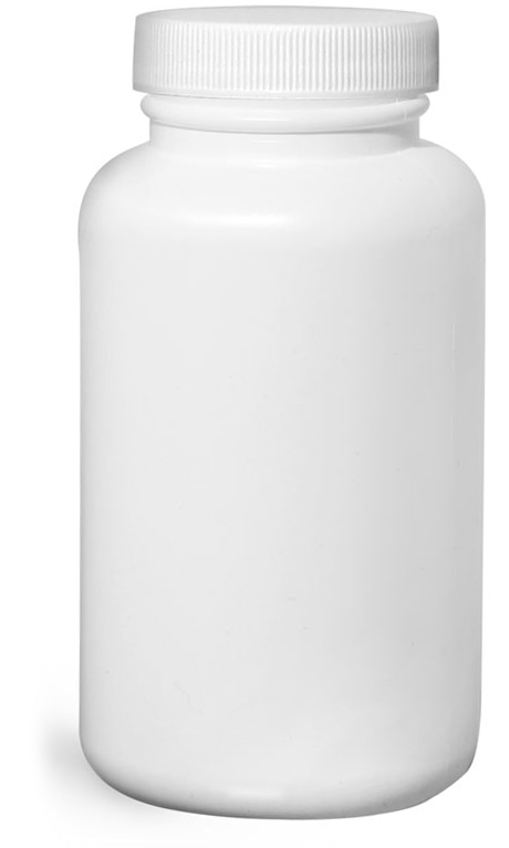 250 cc White HDPE Pharmaceutical Round Bottles w/ White Ribbed Induction Lined Caps